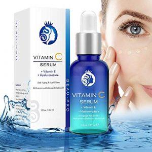 Vitamin C Hyaluronsäure Serum für Gesicht,Hyaluron Konzentrat,Anti-Aging Gesichtsserum,mit Organischen Inhaltsstoffen|Vitamin C+E,Feuchtigkeitscreme,Collagen-Booster für alle Hauttypen – 30ml