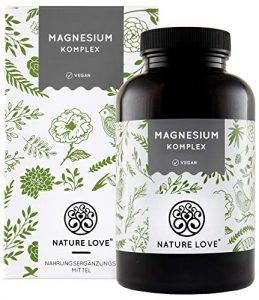 NATURE LOVE® Magnesium Komplex – 400mg elementares Magnesium je Tagesdosis. Magnesiumcitrat, Magnesiumoxid, Magnesiumbisglycinat, Magnesiummalat, Magnesiumscorbat. Vegan, hochdosiert, Made in Germany