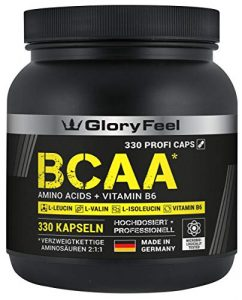 BCAA 330 Kapseln – Der VERGLEICHSSIEGER 2019*- Essentielle Aminosäuren Leucin, Valin und Isoleucin Plus Vitamin B6 – Laborgeprüft und ohne unerwünschte Zusätze hergestellt in Deutschland
