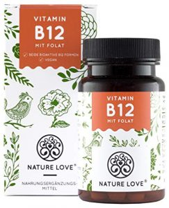 NATURE LOVE® Vitamin B12 – Vergleichssieger 2019* – 1000µg, 180 Tabletten. Beide aktive Formen Adenosyl- & Methylcobalamin + Depot + Folsäure als 5-MTHF. Vegan, hochdosiert, made in Germany