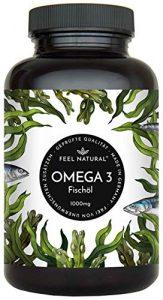 Omega 3 Fischöl Kapseln – 365 Kapseln im Jahresvorrat – Premium, hochdosiert mit 1000mg Fischöl je Kapsel und den Omega 3 Fettsäuren EPA und DHA – Ohne unerwünschte Zusätze, hergestellt in Deutschland