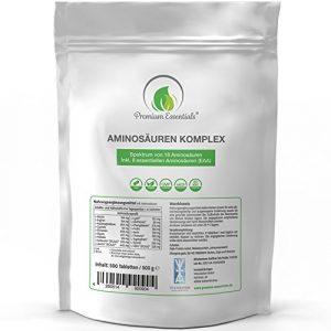 Aminosäuren-Komplex, 500 Tabletten á 1000mg (vegan) | Alle 18 Aminosäuren (BCAA & EAA) inkl. aller 8 essentiellen Aminos – Hochwertige Proteine hergestellt in Deutschland – Nachfüllpackung