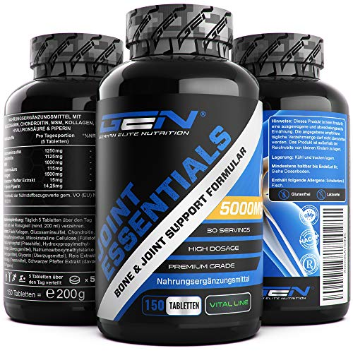 Joint Essentials - 150 Tabletten - Hochdosiert mit 5000 mg pro Tag - Glucosamine + Chondrotin + MSM + Hyaluronsäure + Kollagen + Schwarzer Pfeffer Extrakt - Gelenk Supplement - German Elite Nutrition