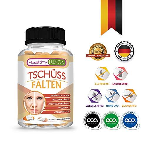 TSCHÜSS FALTEN – Starke Antifaltenbehandlung – Gesunde und mit Feuchtigkeit versorgte Haut – Schützt die Gesundheit der Muskeln und Artikulationen – Hydrolisiertes Kollagen + Hyaluronsäure – 50 G.