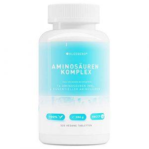 Aminosäurenkomplex vegan – 320 Tabletten a 1000 mg | 40 Tage Vorrat | hochdosiert | Komplex aus Aminosäuren inkl.essentieller Aminosäuren | aus veganen Proteinen | ohne Magnesiumstearat | von Kleeberg