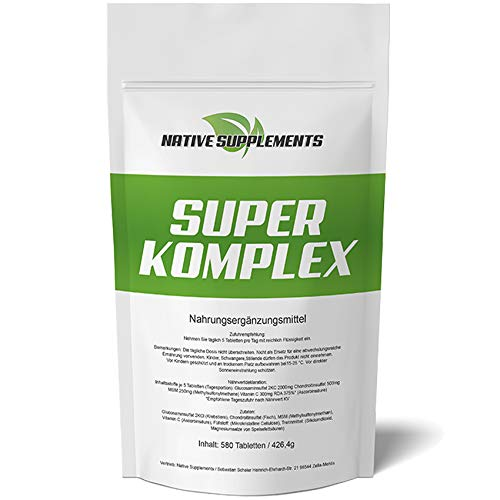 580 Tabletten Super Komplex, 3000mg Hochdosiert/Glucosamin Chondroitin MSM Vitamin C Kombination