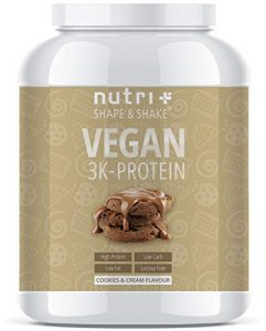 EIWEIßPULVER VEGAN Cookies & Cream 1kg | 81,9% Eiweiß | Nutri-Plus Shape & Shake ® 3k-Protein | Veganes Proteinpulver ohne Laktose und Milcheiweiß | In Deutschland hergestellt