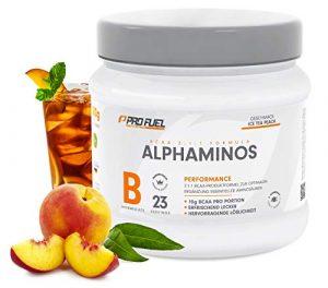 ALPHAMINOS | BCAA Pulver 2:1:1 | Das ORIGINAL von ProFuel | Essentielle Aminosäuren | Unfassbar leckerer Geschmack | 300g – ICE TEA PEACH (Eistee Pfirsich)