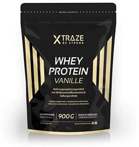 Whey Protein Pulver 900 g für Eiweiß-Shakes Molkenprotein-Konzentrat + Isolat mit BCAA – Qualität aus Deutschland – ohne Zusatzstoffe – für Kraftsport | Bodybuilding | Fitness (1 Beutel Vanille)