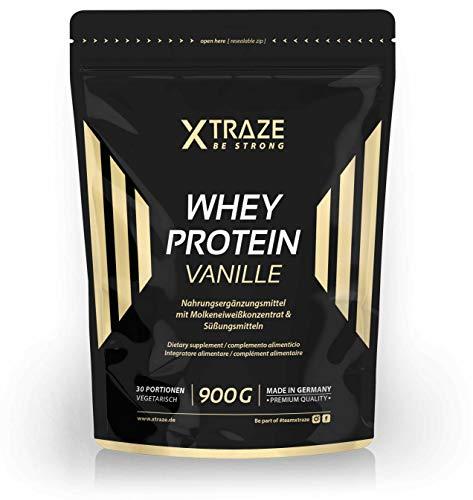 Whey Protein Pulver 900 g für Eiweiß-Shakes Molkenprotein-Konzentrat + Isolat mit BCAA - Qualität aus Deutschland - ohne Zusatzstoffe - für Kraftsport | Bodybuilding | Fitness (1 Beutel Vanille)