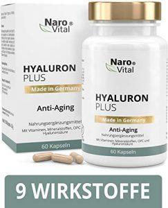 Hyaluronsäure Kapseln – Anti-Aging & junge Haut – Hochdosiert 553 mg – Mit Hyaluronsäure 500-700 kDa, Niacin, Vitamin B2, Kupfer, Selen, OPC, L-Cystein & Vitamin E – 60 vegane Kapseln – Hyaluron Plus