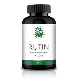 GREEN NATURALS Premium Rutin – 120 hochdosierte Kapseln á 450mg aus deutscher Herstellung – 100% Vegan & Ohne Zusätze – Vorrat für 4 Monate. Bonus Venen Ratgeber (eBook)