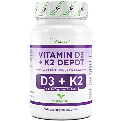 Vit4ever® Vitamin D3 20.000 I.E + Vitamin K2 200 mcg Menaquinon MK7 Depot - 180 Tabletten - 99% All-Trans - Laborgeprüft - Alle 20 Tage eine Tablette - Vegetarisch - Hohe Bioverfügbarkeit
