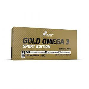 Olimp Gold Omega 3 Sport Edition Nahrungsergänzungsmittel mit Fettsäuren und Vitamin E – Verpackung mit 120 Kapseln – für Herz, Kreislauf und Sehkraft