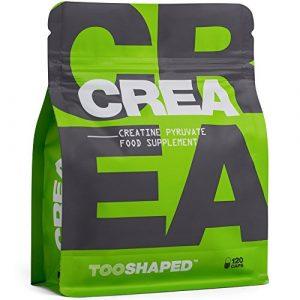 Kreatin Kapseln – Creatine Pyruvat – Für Athleten im Kraftsport (Gewicht zunehmen). 120 vegane Kapseln von TOOSHAPED