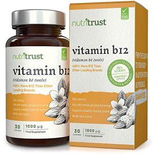 Vitamin B12 1000μg Tabletten von Nutritrust® – 400% mehr B12 als bei anderen führenden Marken – hochwirksame Vollwertkost Wirkstoffformel mit einer erhöhten Bioverfügbarkeit GMP zertifiziert