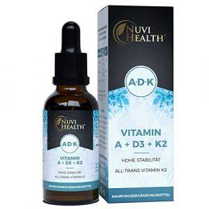 Vitamin A + D3 + K2-50 ML = 1700 Tropfen – Einführungspreis – Laborgeprüfter Komplex: VitaMK7 von Gnosis® +99,7% All Trans + hoch bioverfügbares Vitamin D3 (1000 IE) + Vitamin A Retinol – Flüssig