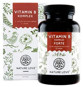 NATURE LOVE® Vitamin B Komplex Forte – 180 Kapseln (6 Monate). Bis zu 10-fach höher dosiert als andere Vitamin B Komplexe. Premium: mit bio-aktiven Vitamin B Formen, dadurch hohe Bioverfügbarkeit
