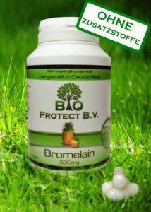 Bromelain 500 mg-120 Kapseln – 2.000 GDU – Rein ohne Füll- und Zusatzstoffe – Hochdosiert und hoch bioverfügbar – 120 Kapseln – Bio Protect – Ananas Enzym OHNE ZUSATZSTOFFE!