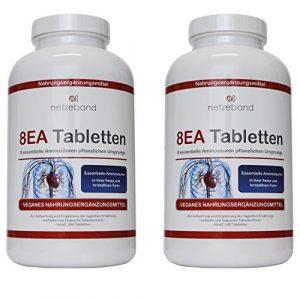 8 essentielle Amino Pattern 8EA – Aminosäuren 480 vegane Tabletten 2 Packungen im optimalen Verhältnis L-Leucin, L-Valin, L-Isoleucin, L-Phenylalanin, L-Lysin, L-Threonin, L-Methionin und L-Tryptophan