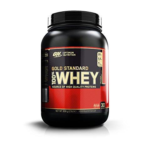 Optimum Nutrition Gold Standard Whey Protein Pulver (mit Glutamin und Aminosäuren. Eiweisspulver von ON) Delicious Strawberry, 30 Portionen, 0,9kg