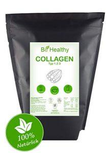 Collagen Pulver 1kg | Typ I, II und III | Kollagen Hydrolysat Peptide | Laborgeprüft – Ohne Zusatzstoffe – Glutenfrei – 100% Natürlich | Made in Germany BeHealthy
