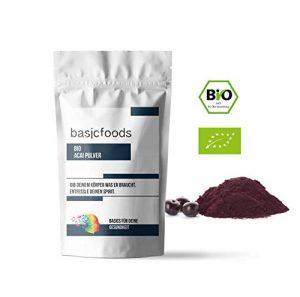 Basicfoods Bio Acai Pulver 250g – natürliche Bio Qualität – Pulver aus der Acai Beere ideal für Diabetiker & reich an Antioxidantien