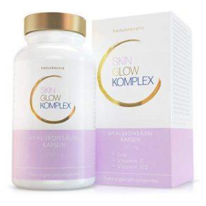 beautéecore Skin Glow Komplex – 90 vegane Hyaluronsäure Kapseln – 350 mg hochdosiert mit Zink, Vitamin C und Vitamin B12 – Made in Germany