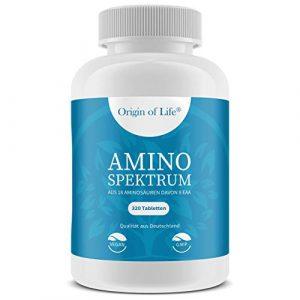 AMINO SPEKTRUM – 320 Tabletten vegan | Hochdosiert mit je 1000mg für 40 Tage | Komplex aus 18 Aminosäuren inkl. 8 EAA´s & BCAA | Laborgeprüft – Hergestellt in Deutschland ohne Magnesiumstearat