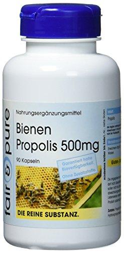 Bienen Propolis Kapseln 500mg - natürlich - reich an Flavonoiden und Procyanidinen - ohne Magnesiumstearat - 90 Propolis Kapseln