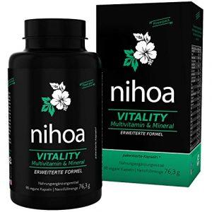 Nihoa Vitality Multivitamin & Multimineral A-Z hochdosiert + Superfood, Multi-System Support, Anti-Stress Vitamine für optimale Gesundheit von Mann und Frau, 90 Kapseln