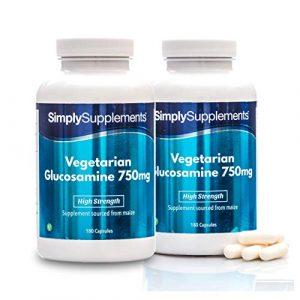 Vegetarisches Glucosamin 750mg – 360 Kapseln (2 Behälter á 180 Kapseln) – Versorgung für bis zu 1 Jahr – Geeignet für Kunden mit Schalentierallergie – Simply Supplements