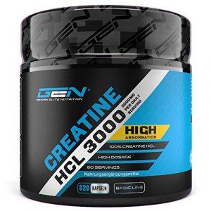 Creatine HCL 3000 – 320 Kapseln – 3000 mg pro Tag (80 Tagesportionen) – Premium Creatin Verbindung – Hochdosiertes Kreatin Hydrochlorid für eine schnellere Aufnahme – Für Bodybuilder & Sportler