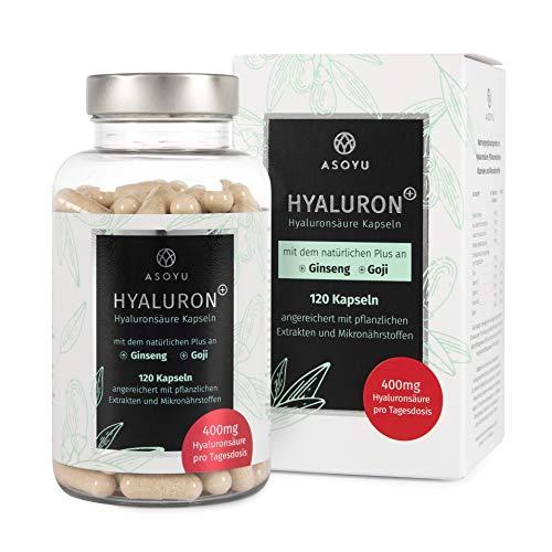 ASOYU® 120 Hyaluronsäure Kapseln mit dem natürlichen Plus - Hochdosiert mit 400mg pro Tagesdosis - Vegan - 2 Monate - Mit Goji, Ginseng, Biotin und Zink - Für Haut, Beauty, Anti-Aging