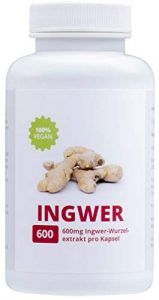 INGWER – 100% Vegan | Hochdosiert 600mg | 90 Kapseln | Made in Germany
