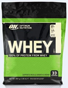 Optimum Nutrition ON Whey Protein Pulver. Zuckerarmes Eiweisspulver von ON –  Vanilla, 33 Portionen, 0,9kg
