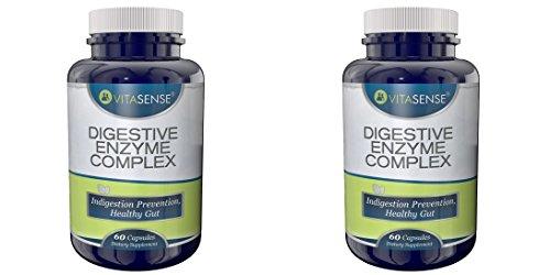 Doppel-Pack (Packung mit 2) Vitasense Verdauungs Enzym Komplex - Verdauungsstörungen-Prävention, gesunde Darm - 60 Kapseln