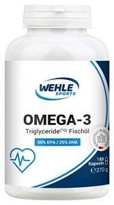 Omega 3 Kapseln hochdosiert Triglyceride Fischöl – 180 Fish Oil Softgel 500mg EPA 250mg DHA ohne Vitamin E Omega-3 Fettsäuren – Aufwendig gereinigt, hochdosiert und aus nachhaltigem Fischfang