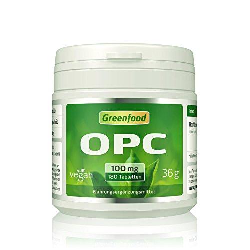 OPC, 100 mg, hochdosiert, 180 Tabletten, vegan - OHNE künstliche Zusätze. Ohne Gentechnik.