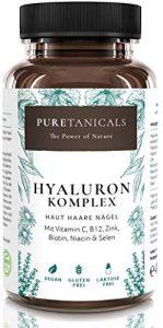 Hyaluronsäure Kapseln hochdosiert laborgeprüft – 350mg Hyaluron + Vitamin C, B12, Zink, Biotin, Niacin, Selen | Anti-Aging Haut Haare Nägel | Vegan hergestellt in Deutschland ohne Magnesiumstearat