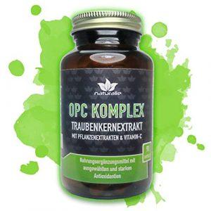 OPC KOMPLEX – einzigartige Formel mit Traubenkernextrakt, Vitamin-C plus 3 starke Antioxidantien – 90 vegane Kapseln im GLAS ohne Magnesiumstearat und BPA-Weichmacher