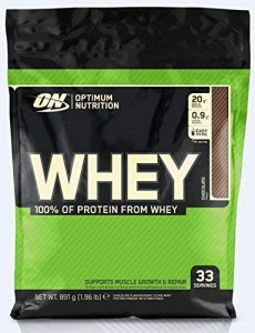 Optimum Nutrition ON Whey Protein Pulver. Zuckerarmes Eiweisspulver von ON –  Chocolate, 33 Portionen, 0,9kg