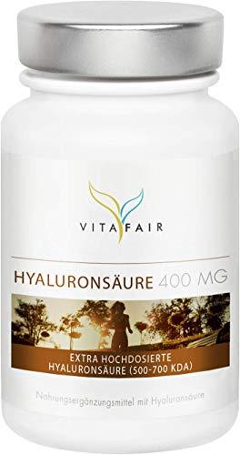 Hyaluronsäure - 400mg pro Kapsel - 120 Kapseln - Hochdosiertes Hyaluron aus Mais-Fermentation mit 500-700 kDa - Vegan - Ohne Magnesiumstearat - Made in Germany