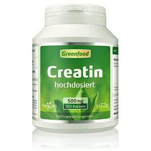 Greenfood Creatin, 500 mg, hochdosiert, 120 Vegi-Kapseln – baut rasch Muskelmasse auf, idealer Begleiter für Workout und Training. OHNE künstliche Zusätze, ohne Gentechnik. Vegan.
