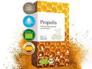 MEDICOM Bio Propolis Kapseln • biozertifiziert mit 400 mg gereinigter Bio Propolis pro Kapsel • reine Bienenkraft – 60 Stk