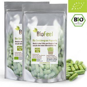BioFeel – Bio Gerstengras Kapseln, 360Stk, 450mg – aus NEUSEELAND – rein – vegan – ohne Zusätze