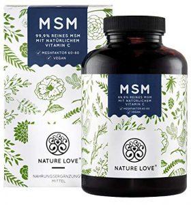 NATURE LOVE® MSM – 365 vegane Tabletten (6 Monate) – Extra hochdosiert: 2000mg MSM (Tagesdosis) – Premium: natürliches Vitamin C (Acerola) – z.B. für Gelenke*- Laborgeprüft, hergestellt in Deutschland