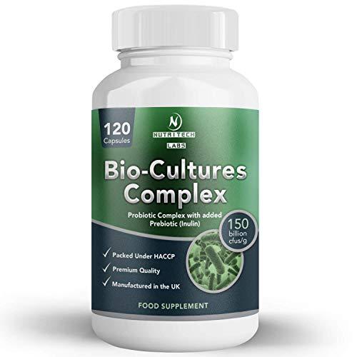probiotika mit präbiotika für darmsanierung - probiotika kulturen komplex kapseln 150 milliarden für präbiotika inulin und faser Flohsamenschalenbalaststoff - 120 pur probiotika kapseln für 3 Monate