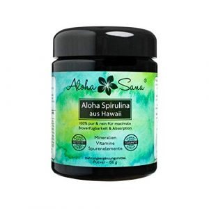 Aloha Sana ® – Hawaii Spirulina Pacifica Algen Pulver, 150 g, Ultraviolettglas, laborgeprüft, energetisch getestet, Made in Germany
