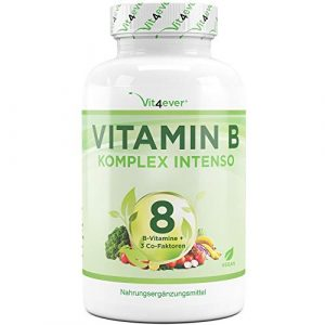 Vit4ever® Vitamin B Komplex Intenso – 180 Kapseln – 8 B-Vitamine + 3 Co-Faktoren – Bis zu 10-fach höher dosiert – Laborgeprüft – Hochdosiert – Vegan – Premium Qualität
